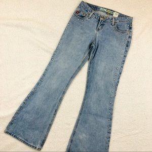 Mudd Flared Leg Studded Light Wash Hippie Jeans